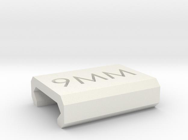 Caliber Marker - Picatinny - 9mm in White Natural Versatile Plastic