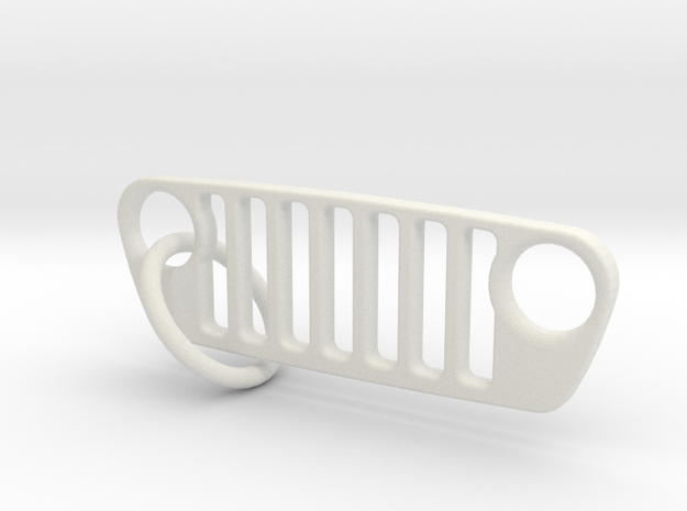JL Grill Keychain-Flat in White Natural Versatile Plastic
