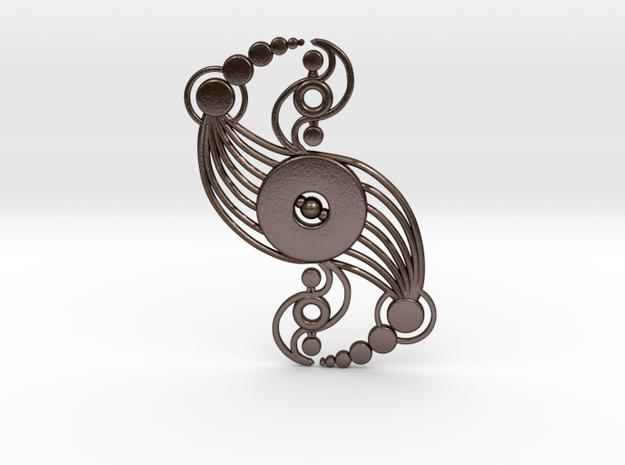 Crop circle Pendant  1(steel materials) in Polished Bronze Steel