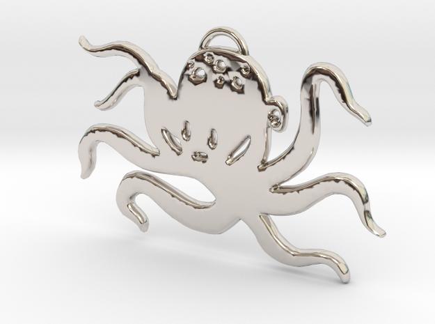 Octopus Pendant in Rhodium Plated Brass