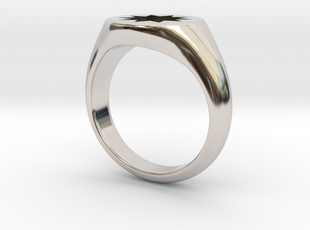 Power Signet Ring - Small in Rhodium Plated Brass: 3 / 44