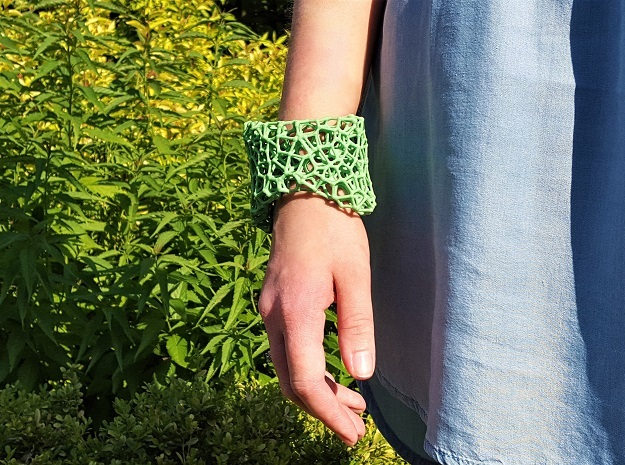 Cellular Cuff Bracelet in Green Processed Versatile Plastic