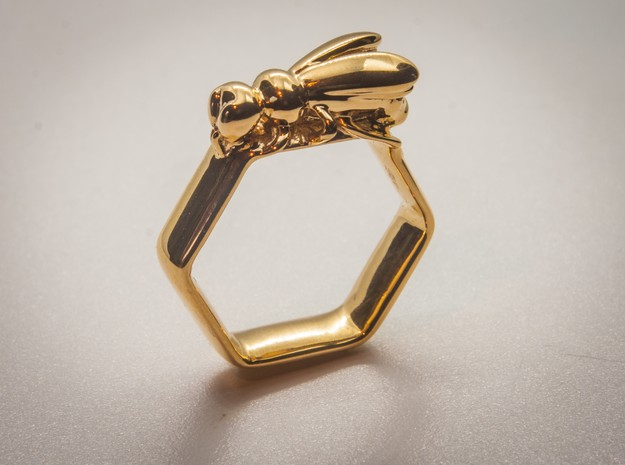 Hex Bee Ring US Size 6 (UK Size M) in 18k Gold Plated Brass