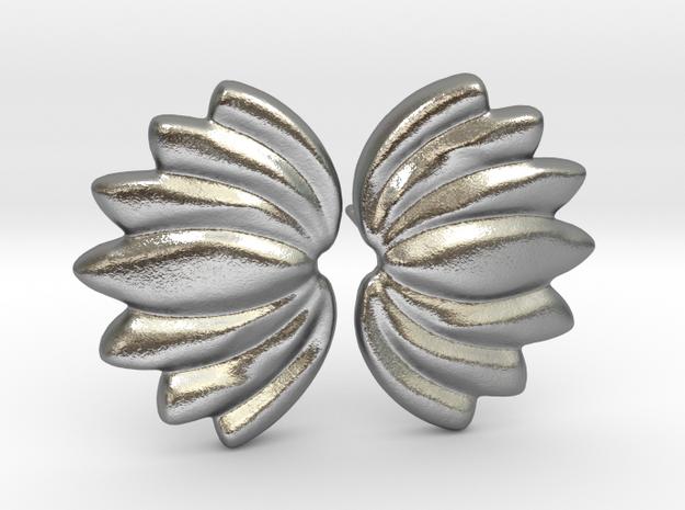 Lotus018 Earrings 08mm in Natural Silver