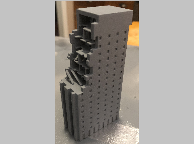 Battle Damaged Building in White Natural Versatile Plastic