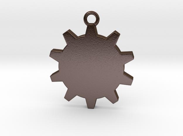 Time (Gear) Pendant in Polished Bronze Steel