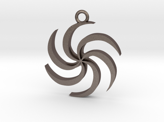 Space (Spiral) Pendant in Polished Bronzed-Silver Steel