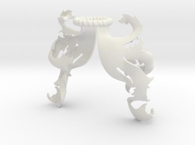 Boscage Mantling (Asymmetrical) in White Natural Versatile Plastic: Small