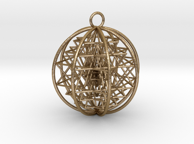"3D Sri Yantra 8 Sided Symmetrical Pendant 2"" in Polished Gold Steel"