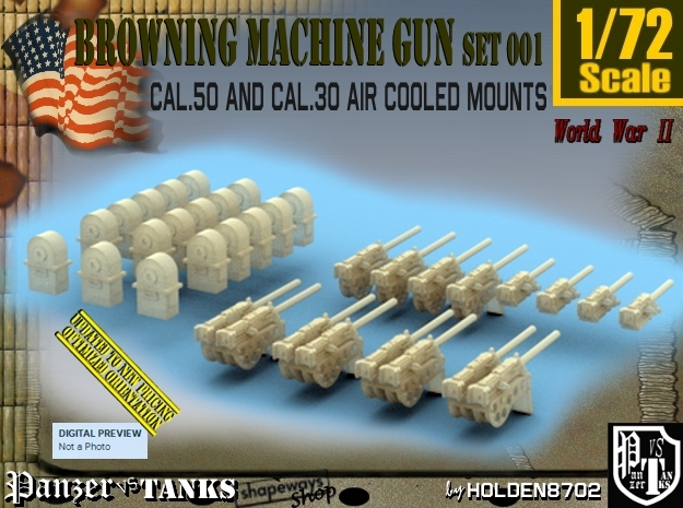 1/72 M2 Air Cooled M2 MG Mount Set001 in Smooth Fine Detail Plastic