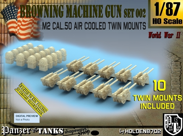 1/87 M2 Air Cooled Twin M2 MG Mount Set002 in Smooth Fine Detail Plastic