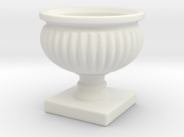 Planter Urn Hollow Form 2017-0010 Porcelain in White Natural Versatile Plastic: 1:12