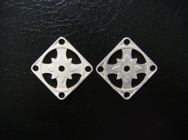 Elegant Earrings - Eight Petal Supported in Natural Silver