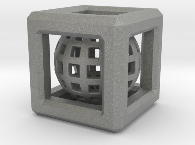 Sphere in Cube pendant in Gray Professional Plastic