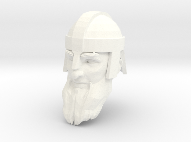 dwarf head 4 with helmet in White Processed Versatile Plastic