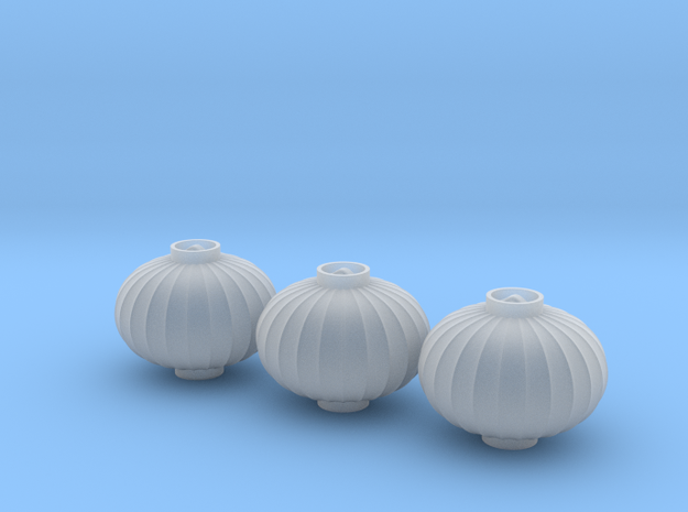 1/25th Chinese Lanterns, Ellipse, 17mm Dia x3 in Smooth Fine Detail Plastic