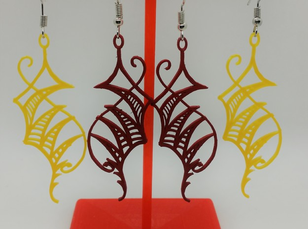 abstract leaf dangle earring in White Natural Versatile Plastic