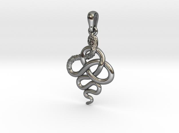Pendentif Charreau serpent 2 in Polished Silver