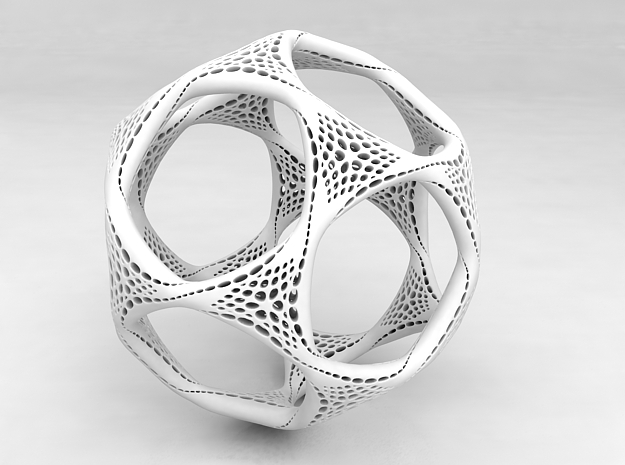 Perforated Twisted Dodecahedron in White Premium Versatile Plastic