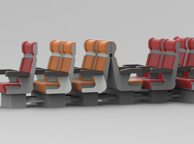 ICR and ICM seats. Scale 0 (1:45) in White Natural Versatile Plastic