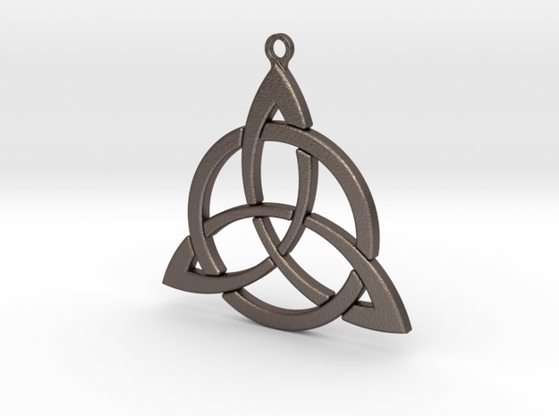 Triquetra Keyfob 001 in Polished Bronzed-Silver Steel
