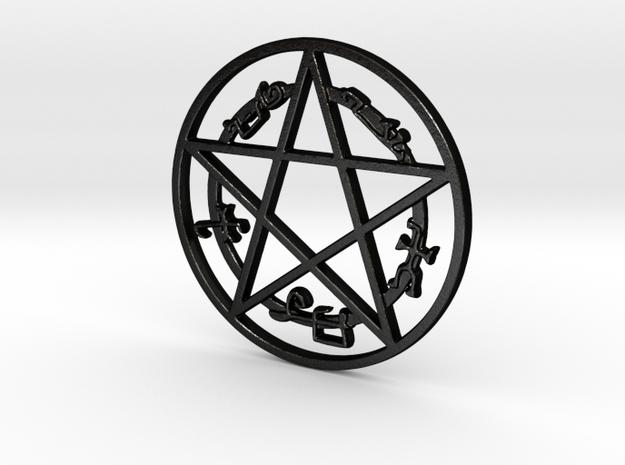 Devil's Trap Pendant in Matte Black Steel