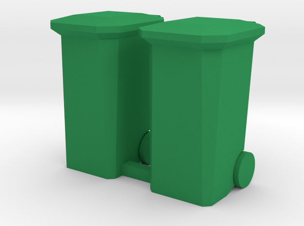 Garbage Cans Square Wheeled in Green Processed Versatile Plastic: 1:64 - S