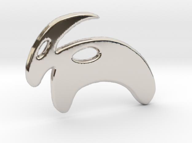 Minimalist Mountain Goat Pendant in Rhodium Plated Brass