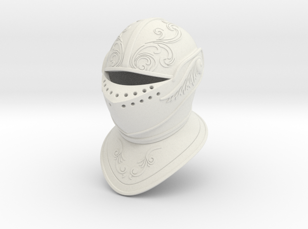 Ornate Closed Helm (Full) in White Natural Versatile Plastic: Small