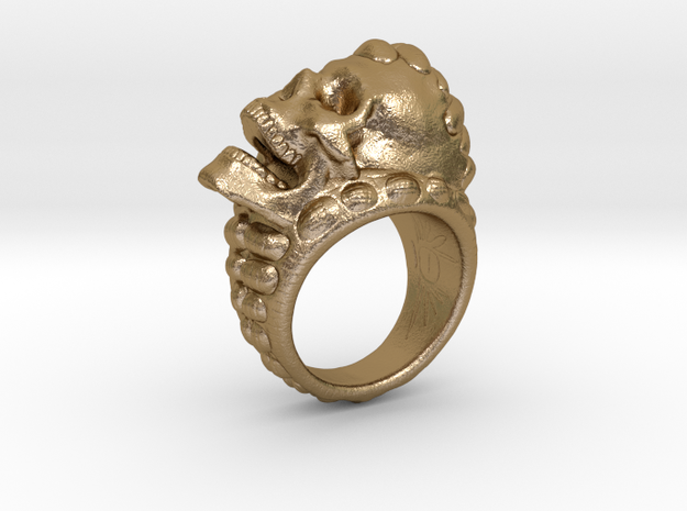 skull-ring-size 7 in Polished Gold Steel