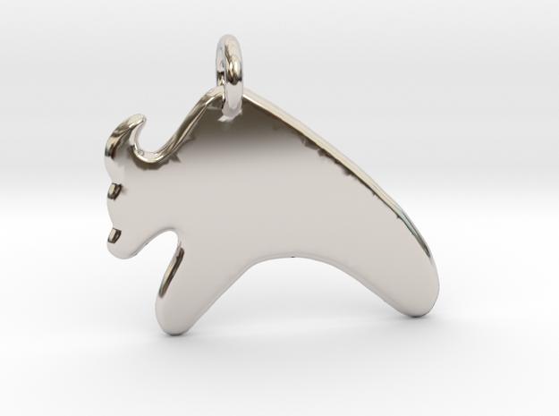 Minimalist OX Pendant in Rhodium Plated Brass