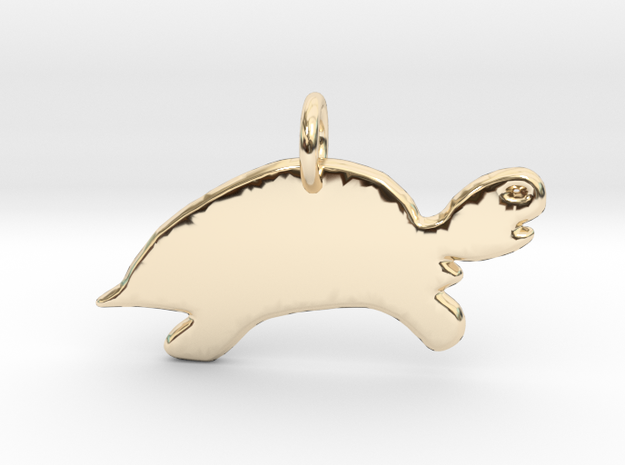 Minimalist Turtle Pendant in 14k Gold Plated Brass