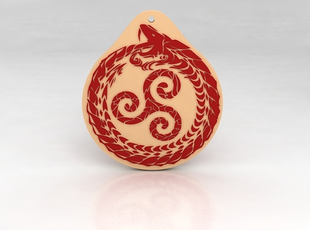 Serpent Triskelion pendant  white red in Glossy Full Color Sandstone
