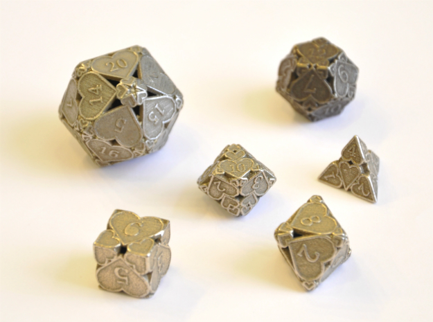 Hearts Dice Set - Balanced in Polished Bronzed-Silver Steel