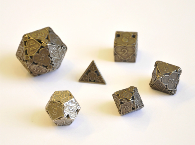 Cards Dice Set - Balanced in Polished Bronze Steel