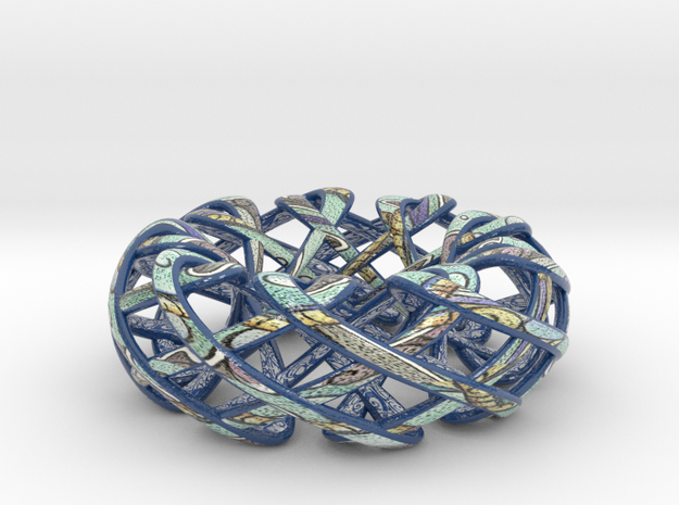 Counter rotating Torus with Celtic knots in Glossy Full Color Sandstone