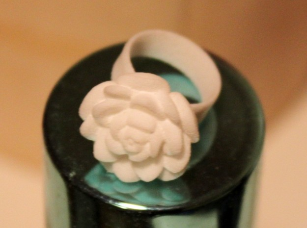 Tiny Rose Ring / Thimble (Fits My Finger tip) in White Natural Versatile Plastic