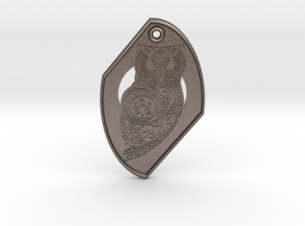 Celtic Owl Pendant in Polished Bronzed-Silver Steel
