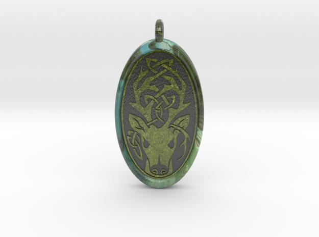 Celtic Stag deer Pendant in Glossy Full Color Sandstone