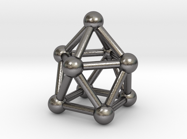 0748 J10 Gyroelongated Square Pyramid (a=1cm) #3 in Polished Nickel Steel