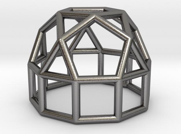0776 J21 Elongated Pentagonal Cupola (a=1cm) #1 in Polished Nickel Steel