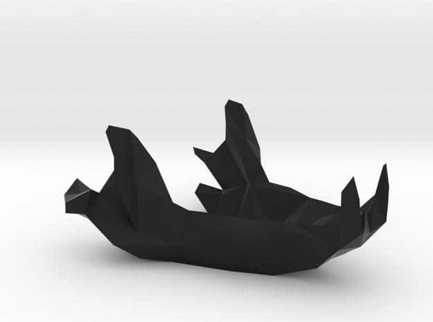 Tasmanian Devil Low Poly Skull Lower in Black Natural Versatile Plastic