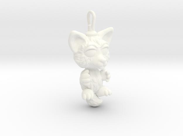 Cute fox pendant in White Processed Versatile Plastic