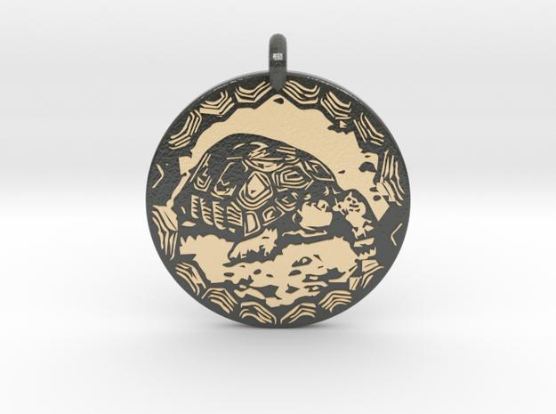 Desert Tortoise Animal Totem Pendant in Glossy Full Color Sandstone