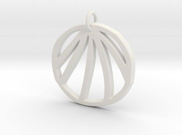 Clam Pendant in White Natural Versatile Plastic