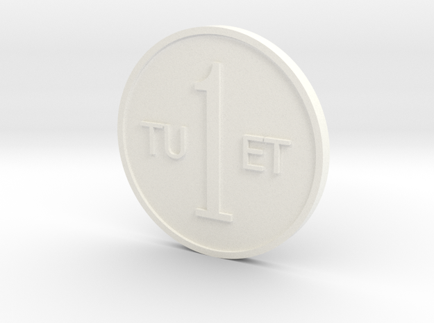 One Round Tuet Coin in White Processed Versatile Plastic