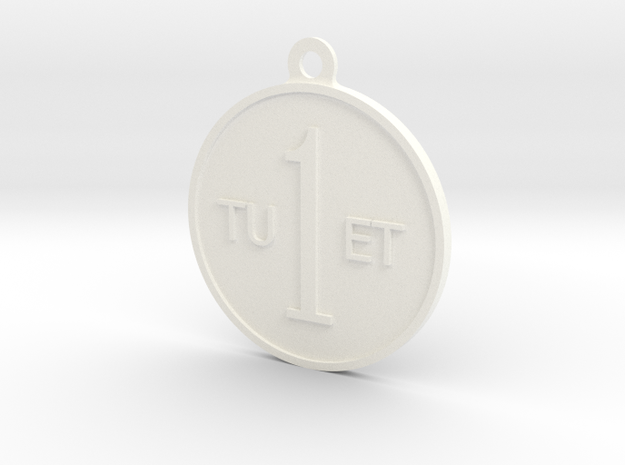 One Round Tuet Key Fob in White Processed Versatile Plastic