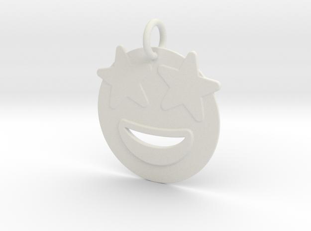 Star eyed emoji  Pendant in White Natural Versatile Plastic