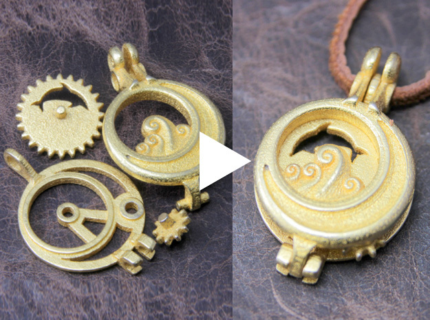 "Rotate Pendant ""Dolphin and Moon"" 3d printed Assembly is very simple."