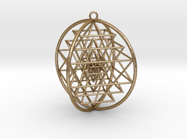 "3D Sri Yantra 4 Sided Symmetrical Steel 4"" in Polished Gold Steel"